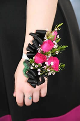 Wrist Corsage - Black and Pink